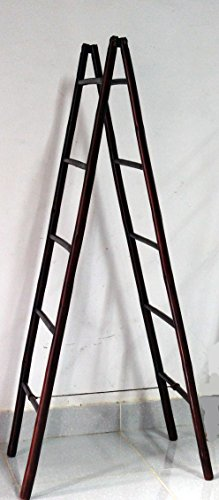 Master Garden Products BLD-60R 5' Folding Double Bamboo Ladder Rack, Mahogany (Bamboo Ladder)