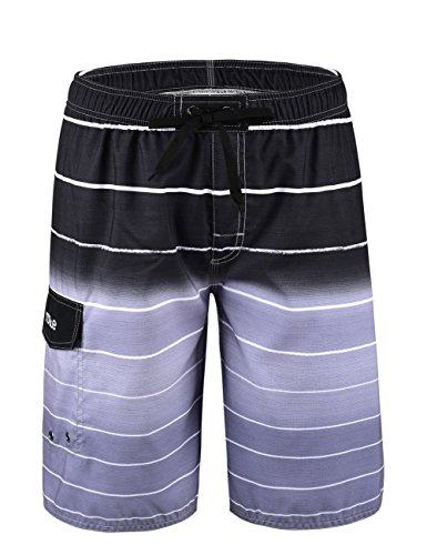 Nonwe Men's Beachwear Quick Dry Striped Beach Shorts Gray 36