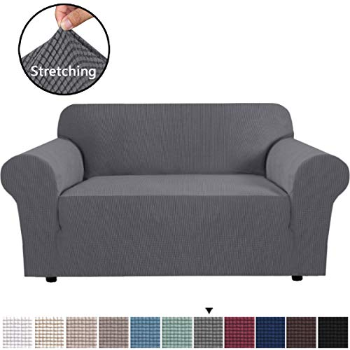 "H.VERSAILTEX Gray Loveseat Cover 1-Piece Spandex Sofa Cover Stretch Furniture Slip Covers for Sofa and Loveseat, Anti-Slip Foams, Machine Washable Loveseat Covers for Living Room 58""-72"" Wide"