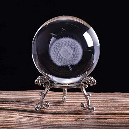 60mm Inner Carving Dandelion Crystal Ball Paperweight Fengshui Home Decor
