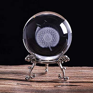 Four-Leaf Clover Crystal Ball with Free Glass Stand,Fengshui Glass Ball Home Decoration HDCRYSTALGIFTS Crystal 2.4 inch 60mm