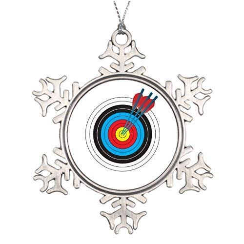 wonbye Christmas Ornaments 2018, Ideas for Decorating Archery Target with Arrows Pattern Metal Snowflake Tree Decoration