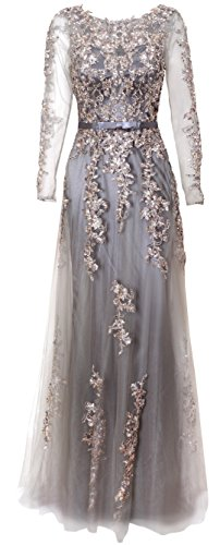 Meier Women's Illusion Long Sleeve Embroidery Prom Formal Dress (16, Silver Grey) ()