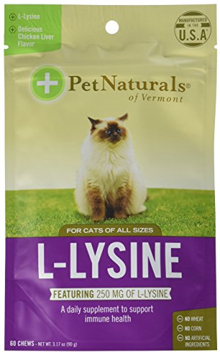 Pet Naturals of Vermont L-Lysine 60 Fun-Shaped Chews for Cats - 6 pack