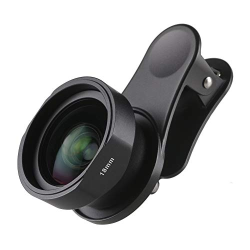 SIRUI Black 18mm Wide Angle Phone Lens with Multi-Purpose Clip, constructed with German Schott Glass and Aluminum Housing, for iPhone, Pixel, Samsung Galaxy and most other Camera Phones