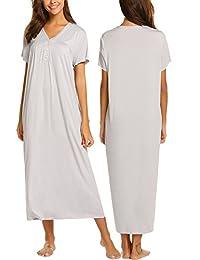 Ekouaer Womens Sleepwear Button Front Maxi Nightgown Long Nightwear Sleep Dress S-XXL