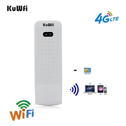 KuWFi 4G WiFi Modem LTE Mobile Hotspot USB Dongle Mini Router Support SIM Card 4G/3G +Wi-Fi Wireless Access Provide for Car or Bus (not Including SIM Card) for USA/CA/Mexico (Best Mobile Broadband Dongle)