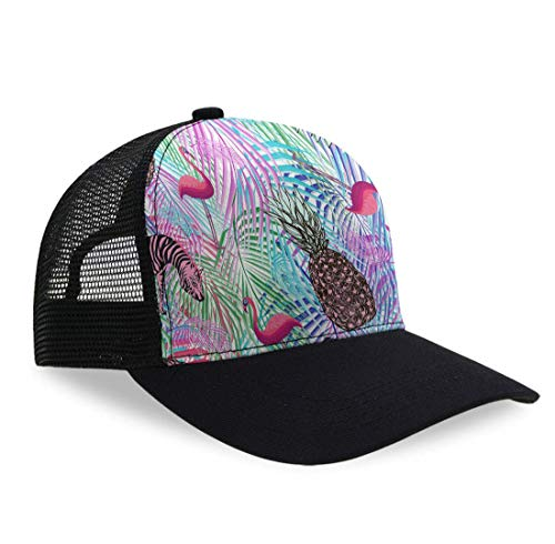 (Colorful Palm Leaf Pineapple Zebra Flamingo Mesh Adjustable Snapback Dad-Hat Baseball Cap Golf Hats Adjustable Plain Cap Classic Sun Outdoor Sports Hat for Boys Girls)