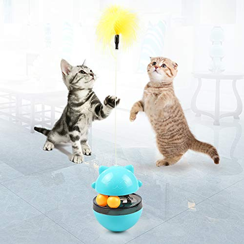 LATT Cat Toys Tumbler, Cat Food Dispensing IQ Ball with Feather for Chasing Playing Eating, Slow Food Feeder Puzzle Toy Funny Cat Stick Toy for Cats Kitten Exercise Interactive Game