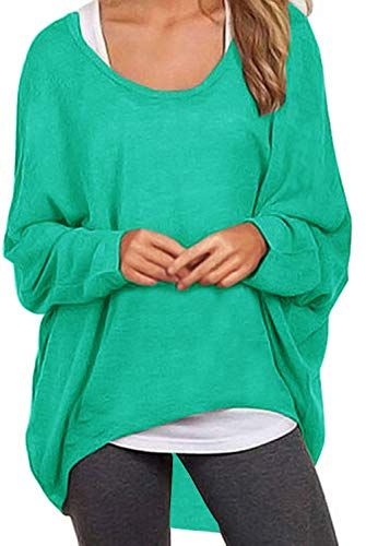 UGET Women's Sweater Casual Oversized Baggy Off-Shoulder Shirts Batwing Sleeve Pullover Shirts Tops Asia S Blue Green