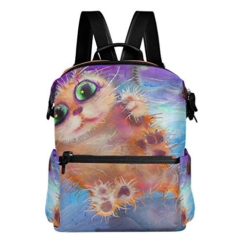 Casual Backpack College Bag Flying Cat Abstract Painting Halloween Backpack Lightweight Travel Daypack Student School Bag for Teen Girls -
