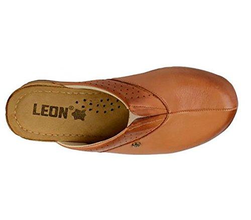 Sabots Femme 1002 en Dames Chaussons Cuir Mules Chaussures LEON Marron F6pfv5wq5