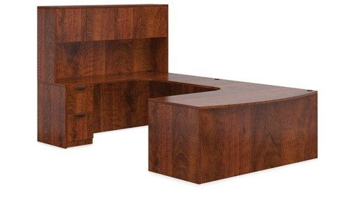 U Shaped Office Desk: Bow Front Executive W/Corner Extension 71