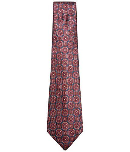 - Tasso Elba Mens Medallion Silk Tie (Navy/Red)