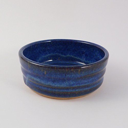 Blue Dog or Cat Food Bowl – Handmade Pottery Pet Dish