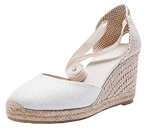 U-lite Cap Toe Platform Wedges Sandals for Women, Classic Soft Ankle-Tie Lace up Espadrilles Shoes