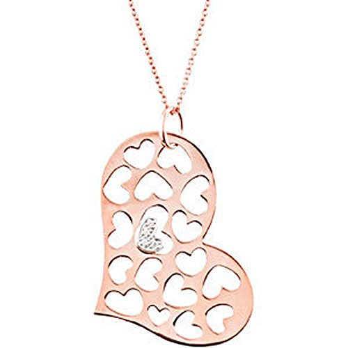0.08 CTW Diamond Heart 18-Inch Necklace in 14K Rose and White Gold - 0.08 Ct Tw Heart