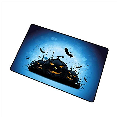 RelaxBear Halloween Front Door mat Carpet Scary Pumpkins in Grass with Bats Full Moon Traditional Composition Machine Washable Door mat W19.7 x L31.5 Inch Black Yellow Sky Blue]()