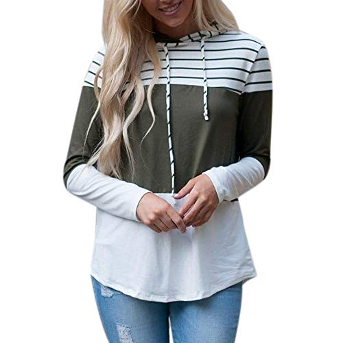 Londony ♥‿♥ Newest Sales,Women's Long Sleeve Pullover Tops Stripe Patchwork Casual Printed Hoodies Sweatshirts