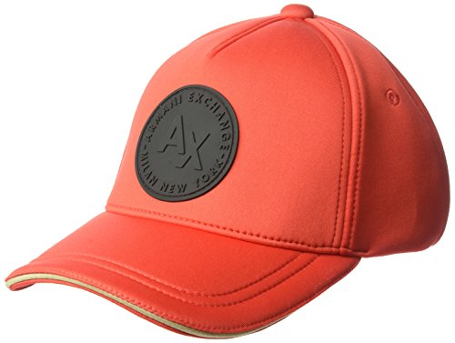 A|X Armani Exchange Armani Exchange Men's Circle Logo Patch Baseball Hat, Poppy, One - Men Armani