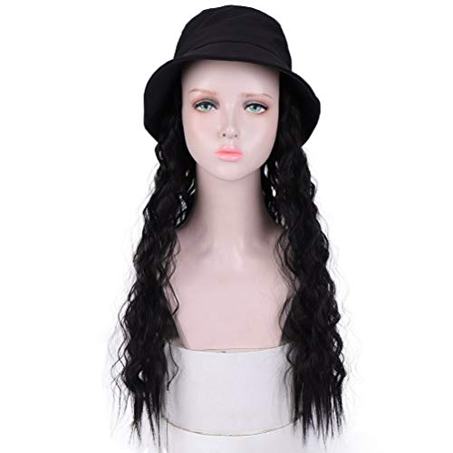 Wavy Hair With Black Bucket Hat Instant Celebrity Cap Do Wig With Hair Extention Long Synthetic Wig With Attached Hair