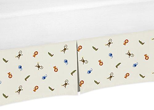 (Sweet Jojo Designs Safari Animal Print Crib Bed Skirt Dust Ruffle for Boys Jungle Time Collection Baby Bedding Sets)