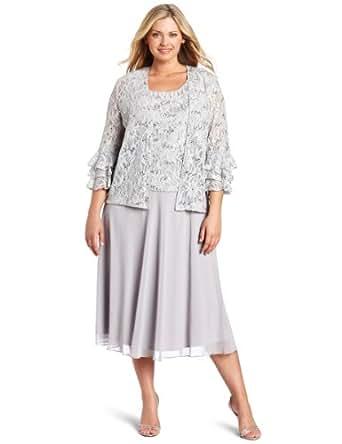 Jessica Howard Women's Plus-Size 2 Piece Flutter Sleeve Jacket Dress, Silver, 18W