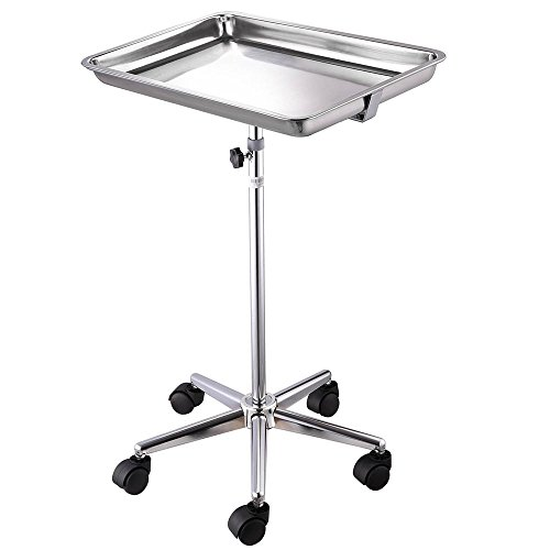 (AW Mobile Mayo Tray Stand Stainless Steel 19x13x2 Trolley Adjustable Height Medical Doctor Salon)