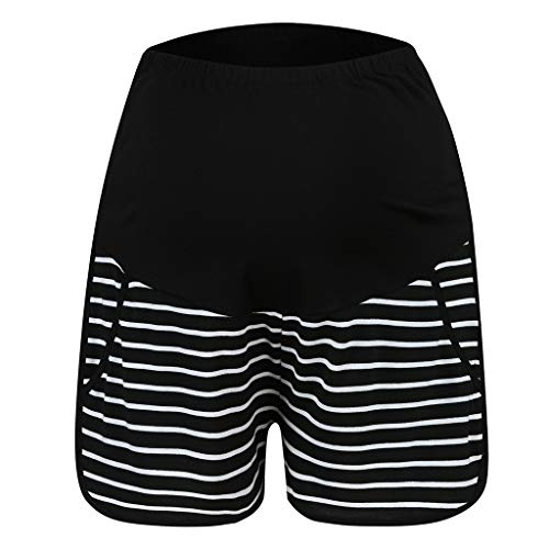 (Maternity Shorts for Women Summer Wide Elastic Band Waist Over The Belly Stripe Loose Fit Stretchy Pants (XL, White))