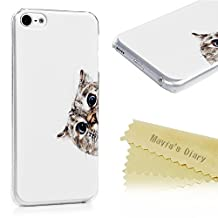 Mavis's Diary iPod Touch 6 Case Cute Kitten Cat White Pattern Hard PC Case Slim Fit Lightweight Clear Cover for iPod Touch 6th Generation