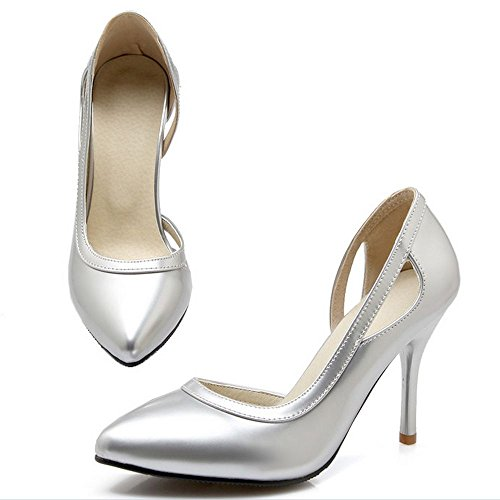 LongFengMa Ladies High Heel Shoes Sexy Women Quality Fretwork Pumps Wedding Fashion Shoes Silver ve6mnU8o