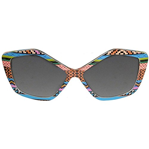 Designer Inspired Pentagon Shaped Sunglasses Embellished with Geometric - Sunglasses Print