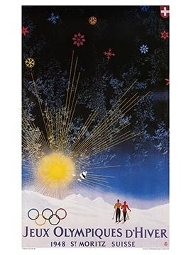Vintage Ski World St. Moritz, Switzerland 1948 V Winter Olympic Games Official Poster, Image Size 13 x 18 inches