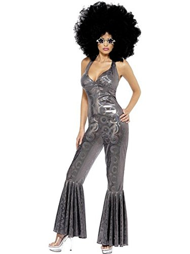 [Smiffy's Women's Disco Diva Costume, Flared Jumpsuit, 70 Disco, Serious fun, Size 10-12, 32888] (Disco Jumpsuit)