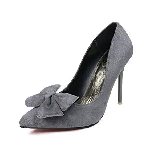 CYBLING Fashion Stiletto Heels Dress Pumps for Women Pointed Toe Wedding Bowtie Shoes Gray LQS1M