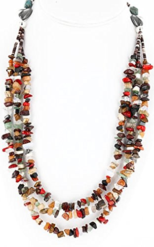 (Large Certified Authentic 3 Strand Navajo .925 Sterling Silver Multicolor Natural Stone 122 Native American Necklace )
