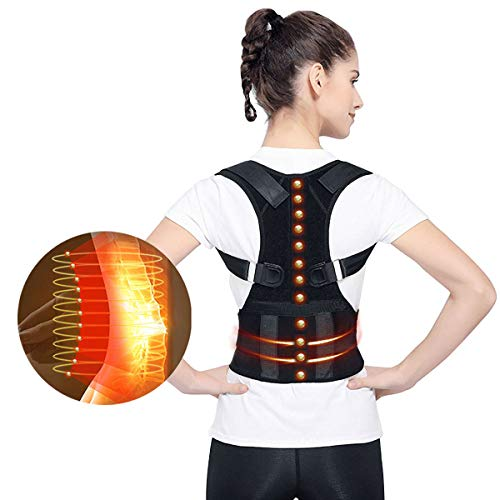 Magnetic Therapy Back Corrector, Medical Grade Adjustable Magnetic Therapy Humpback Posture Corrective Brace Shoulder Back Support Belt Lumbar Support - Relieves Neck Back Spine Pain for Men Women