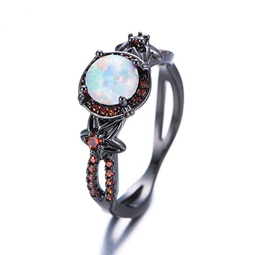 Phetmanee Shop White Fire Opal Star Flower Ruby Ring Black Gold Jewelry Wedding Band Size 6-10 (8)