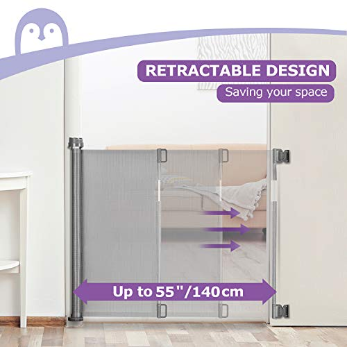 """41VBw2sOMBL - Retractable Baby Gate, Momcozy Mesh Safety Gate For Babies And Pets, Extra Wide Safety Baby Gate 33.7"""" Tall, Extends To 55"""" Wide, Pet Dog Gate For Doorways, Stairs, Hallways, Indoor/Outdoor (Grey)"""