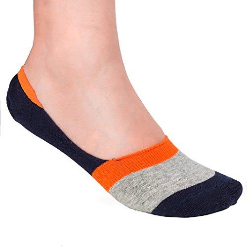 Size Shoe Low UK FASHION 5 No FUTURO Liners Navy Orange Show Womens Colourful Stripes Invisible Ashen CW22 Trainer 3 Socks Cut 4wOxqAw
