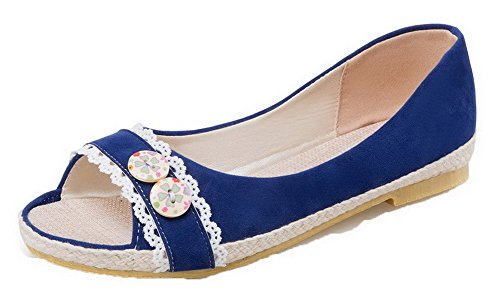 Women's Materials Blend Sandals Open Heels Pull WeiPoot on Blue EGHLG004791 Low Toe dT0Hd8wq