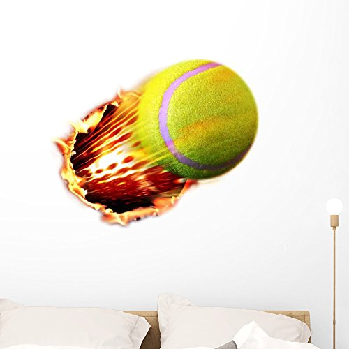 Wallmonkeys WM219492 Tennis Ball Flames Wall Decal Peel and Stick Graphic (36 in H x 36 in W)