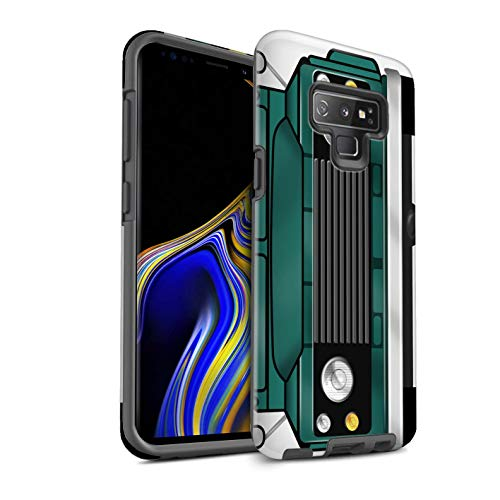 eSwish Gloss Tough Shock Proof Phone Case for Samsung Galaxy Note 9/N960 / Trident Green Design/Classic 4x4 Defender Collection