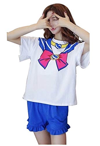 Sailor Moon Pajama Set, T-Shirt, Sailor Moon T-Shirt, Shirt, Sleep Suit, Cute, Trendy, Hello Kitty, Pink, Bow, Cotton (L, Blue)