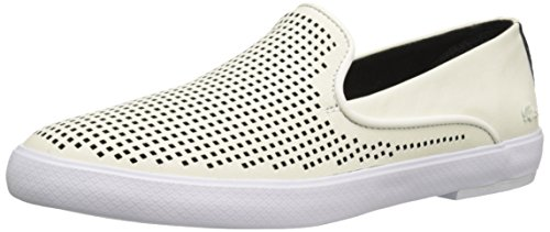 Lacoste Women's Cherre 216 1 Flat, Off White/Black, 10 M US