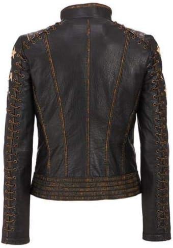 Womens Distressed Cafe Racer Vintage Stars Retro Leather Biker Jacket Brown