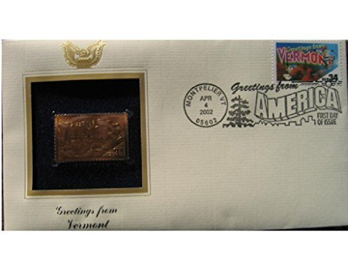 2002 VERMONT Greetings From America First Day Issue Gold 22kt Golden Replica Stamp 1st First Day Issue Stamp Cover ()