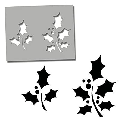 Christmas Holly Stencil | Art Craft Stencil - Decorating & Painting DIY tool - Reusable - Paint Walls, Fabric, Furniture (L/ See Images) Ideal Stencils