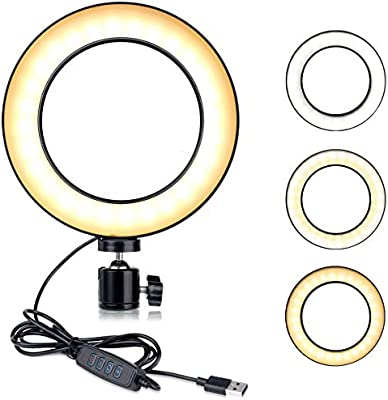"LED Dimmable Mini Ring Light for YouTube Videos B-Land 5.7/"" Ring Light with Screw Holder for Tripod Tripod Not Included Selfie Makeup Lamp with 3 Colors Mode /& 10 Brightness"