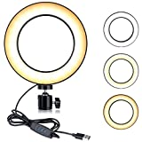 """B-Land 5.7"""" Ring Light with Screw Holder for Tripod, LED Dimmable Mini Ring Light for YouTube Videos, Selfie Makeup Lamp with 3 Colors Mode & 10 Brightness (Tripod Not Included)"""
